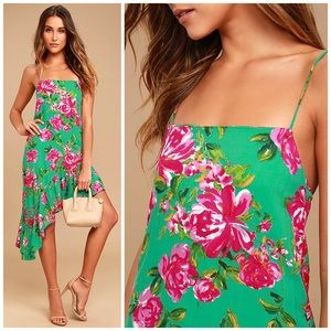 NEW Lulus Impressionist's Garden Floral Midi Dress